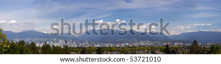 A 270 degree panorama view of Vancouver downtown with mountain background.