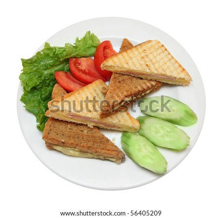 A delicious and healthy club sandwich with toasted bread - stock photo