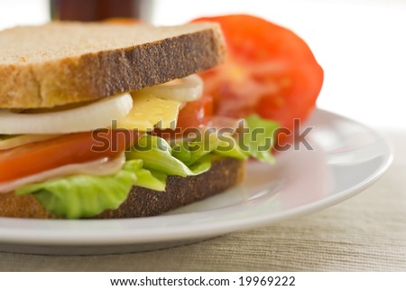 A delicious and healthy sandwich turkey ham cheese lettuce tomato and onion