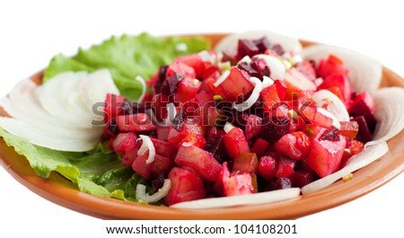 "A delicious and nutritious salad. ""Salad of beetroot"", ""Russian salad"""