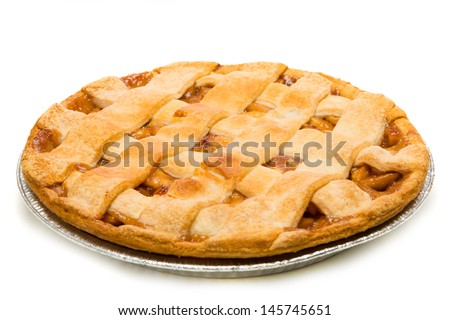 A delicious Apple Pie on a white background - stock photo