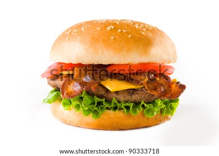 A delicious Bacon Cheese Burger on white