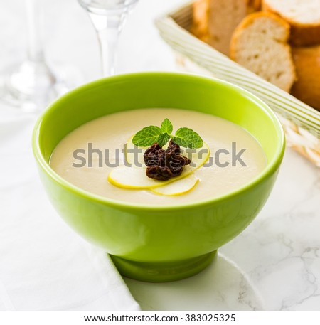 A delicious creamy soup made with potato and apple. Garnished with raisins and mint leaves. - stock photo