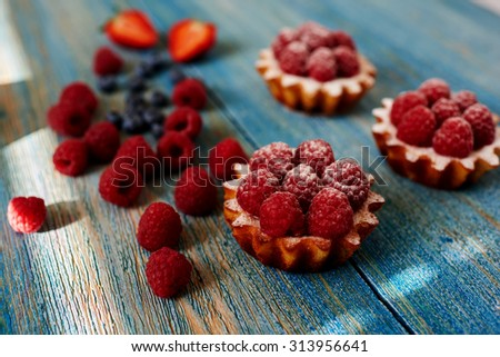 A delicious dessert for the whole family and easy diet, raspberry tarts with a gentle sprinkle with powdered sugar, fresh raspberries are a number of remaining dessert - stock photo