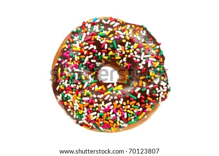 A Delicious Donut with Chocolate Icing and Colorful Sprinkles Isolated on a White Background - stock photo