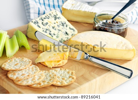 A delicious gourmet cheeseboard with Reblochon, Saint Agur and Brie cheeses