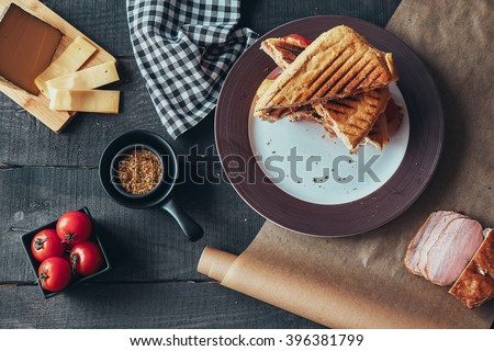 A delicious griled panini sandwich. Top view. - stock photo