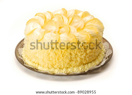 A delicious lemon cake on white