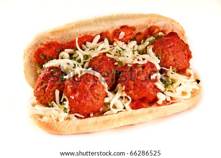 A delicious meatball sandwich on a roll - stock photo
