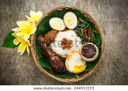 A delicious Nasi Campur, Indonesian food - stock photo