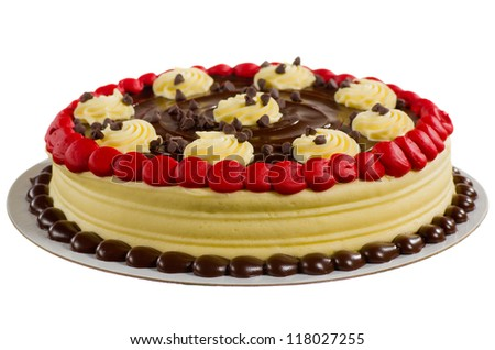 A Delicious Red Velvet Cake with Chocolate Frosting and Vanilla Swirls Isolated on White - stock photo