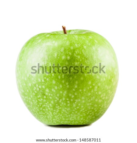 a delicious ripe green apple isolated over a white background - stock photo