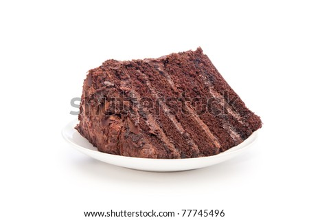 A delicious slice of chocolate cake on a white serving plate.