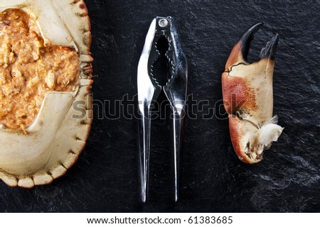 A delicious stuffed crab - stock photo