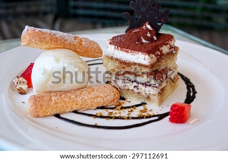 A delicious Tiramisu dessert with multiple layers, cocoa powder, ice cream and ladyfinger biscuits. This images uses selective focus and shallow depth of field.  - stock photo
