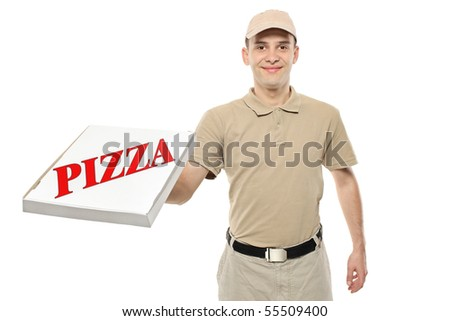 A delivery boy bringing a cardboard pizza box isolated on white background - stock photo