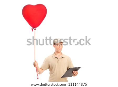 A delivery boy delivering a red heart shaped balloon isolated on white background - stock photo