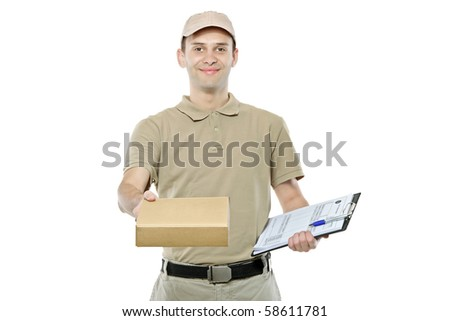 A delivery man bringing a package and holding out a clipboard isolated on white background - stock photo
