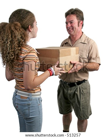 a delivery man giving a package to a girl - isolated - stock photo