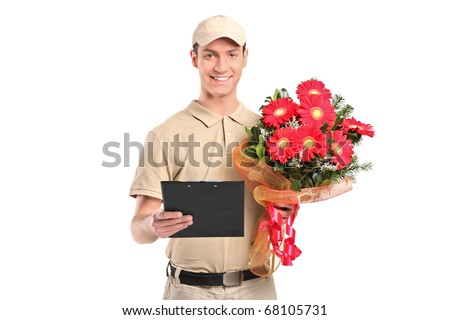 A delivery man holding a beautiful bouquet isolated on white background