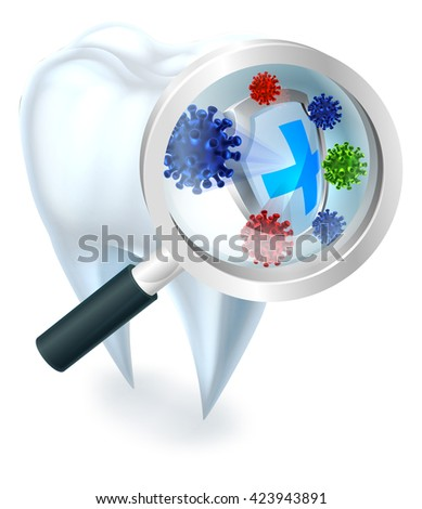 A dental illustration of a tooth protected from bacteria by a shield magnified by a magnifying glass - stock photo