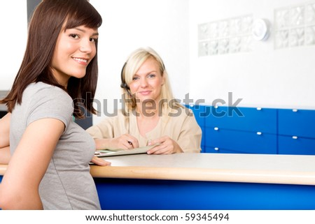A dental patient at the reception - stock photo