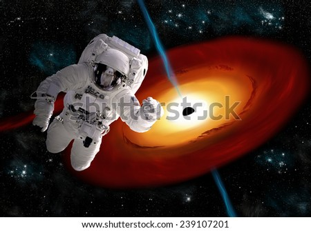 Depiction Astronaut Floating Outer Space Hes Stock Photo ...