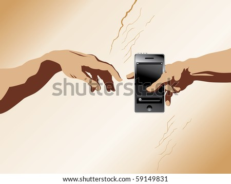 "A depiction of michaelangelo's ""Creation of Adam"" with a cell phone added - stock photo"