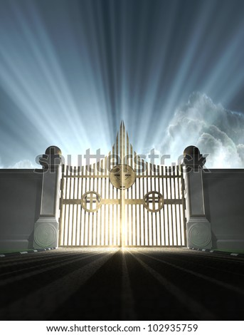A depiction of the pearly gates of heaven with the bright side of heaven contrasting with the duller foreground - stock photo