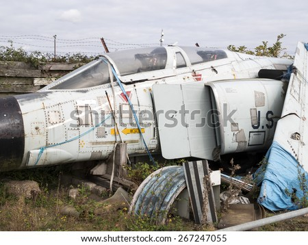 a derelict 1960s vintage US Air Force Phantom jet fighter at coventry airport,Uk. taken 26/09/2014