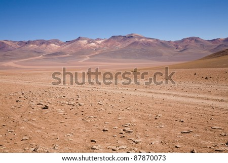 A desert on the altiplano of the andes in Bolivia in the Eduardo Avaroa Andean Fauna National Reserve - stock photo
