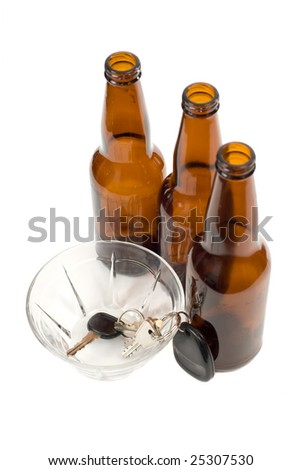 A designated driver put his car keys in a glass bowl - stock photo