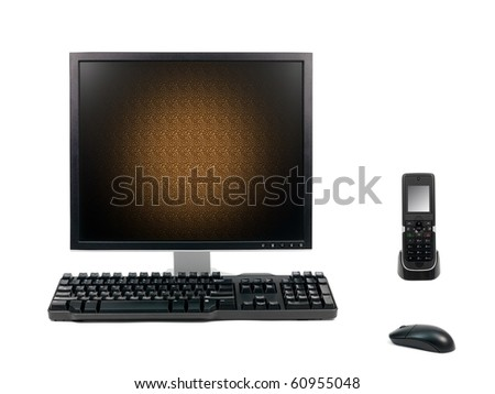 A desktop computer isolated against a white background