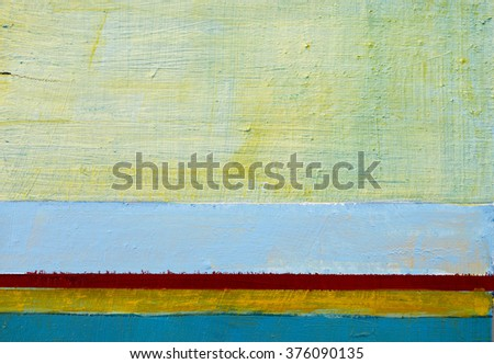 A detail from an abstract painting; horizontal bands of colour - stock photo