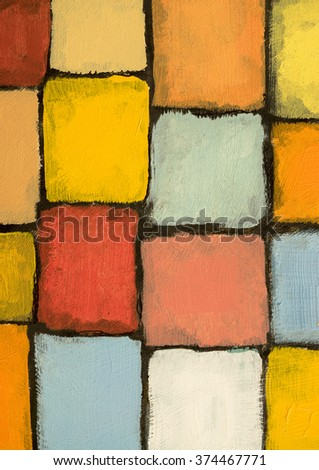 A detail from an abstract painting; warm colours, rough edges - stock photo