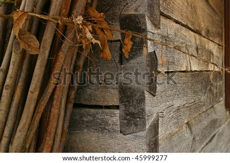 A Detail of a Dovetail Joint in a house Sighet Romania.