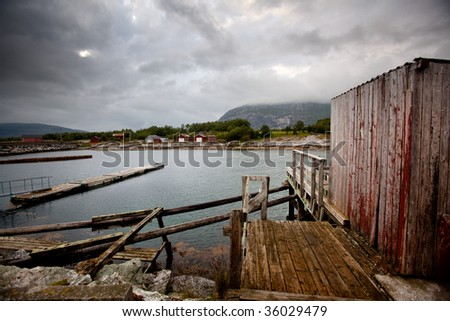 A detail of a small fishing village in northern Norway - stock photo