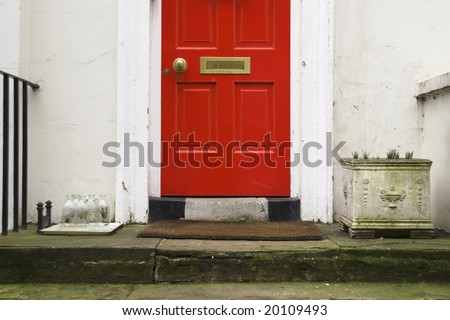 a detail of a tipycal london facade - stock photo