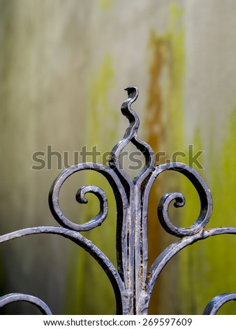 A detail of a wrought iron gate in Charleston, South Carolina, - stock photo