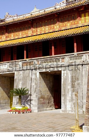 A detail of one of the gates to the forbidden city in Hue in Vietnam