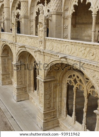 A detail of the arcade of the courtyard of the Hieronymus monastery in Belem a district of Lisbon in Portugal - stock photo