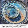 A detail of the astronomical clock in Prague, Czech republic in the Old Town Square. - stock photo