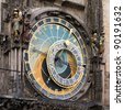 A detail of the astronomical clock in the Old Town Square in Prague, Czech republic - stock photo