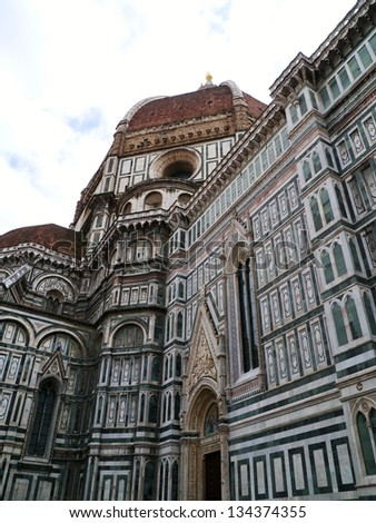 A detail of the dome in Florence in Tuscany in Italy