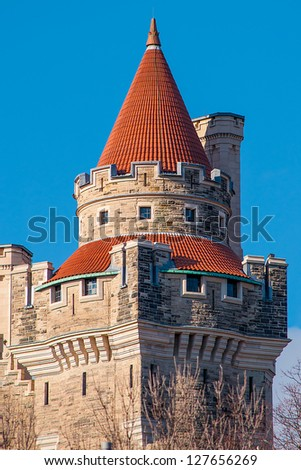 A detail of the exterior architecture of Casa Loma - stock photo