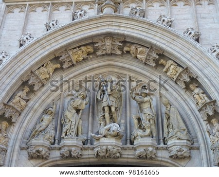 A detail of the historic city hall at the grand place in Brussels in Belgium - stock photo