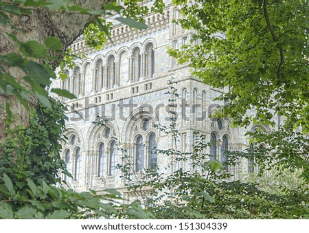 A detail of the Natural History Museum in London, UK - stock photo