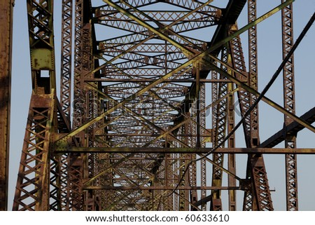 a detail of the old rusty Chain of Rocks Bridge over Mississippi River above St Louis - stock photo