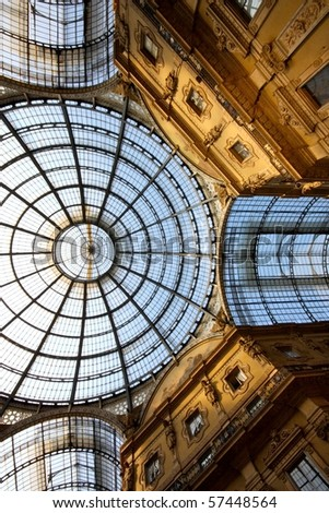 A detail of the roof of the Vittorio Emanuele Gallery in Milan, Italy - stock photo