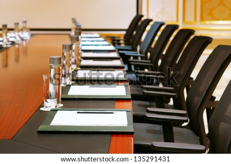 A detail shot of a meeting room often referred to as MICE by the hospitality fraternity - stock photo